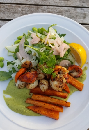 Grilled fresh caught scallops with roasted kumara